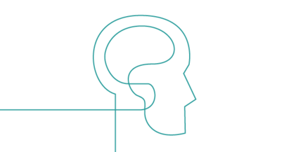 Psychology icon showing a head and brain in profile.