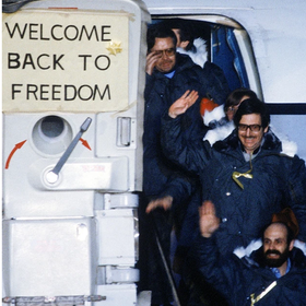 Barry Rosen deboards a plane following release from the Iran hostage crisis.