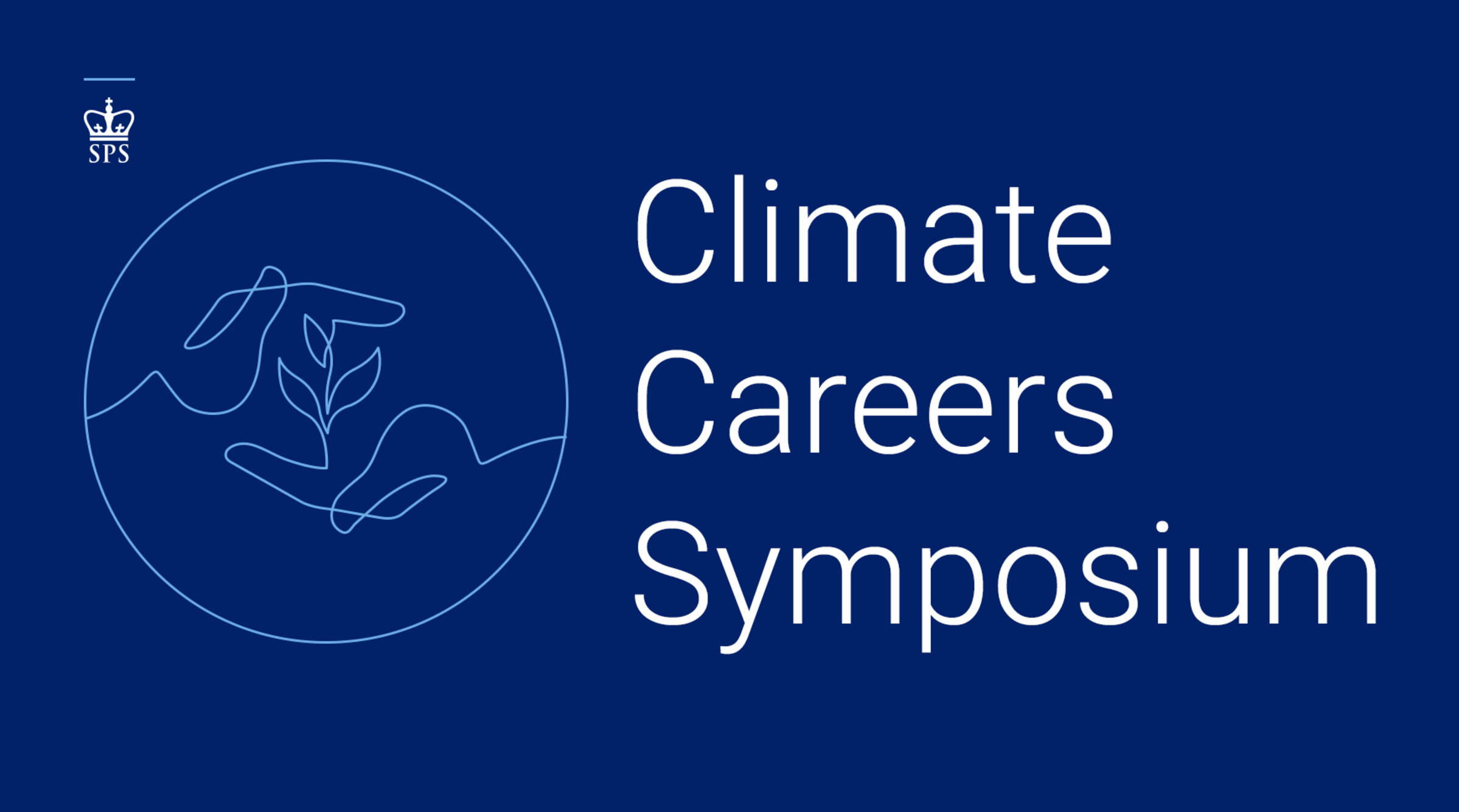 "A navy blue banner displays, ""Climate Careers Symposium."""