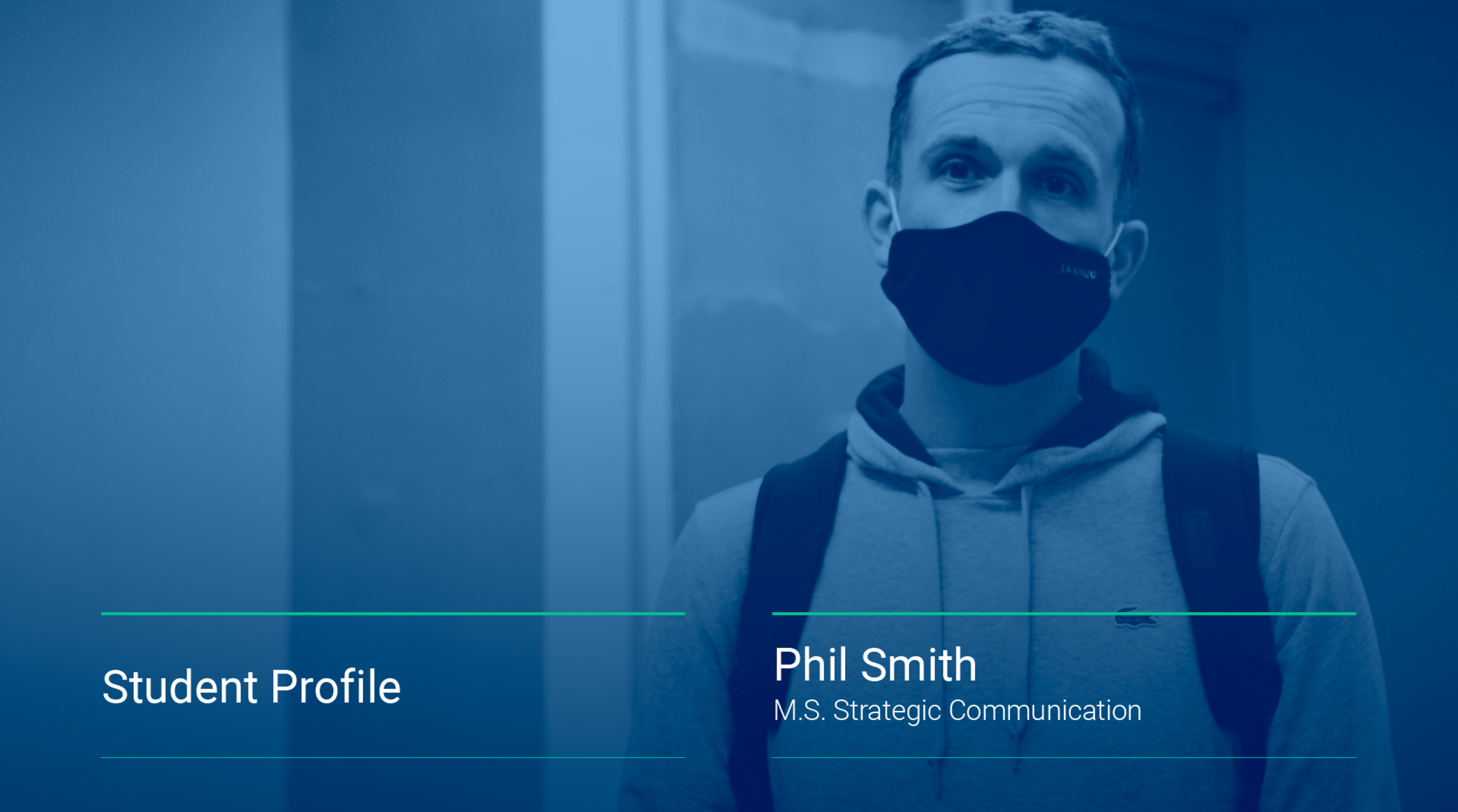 An image displays a still from a video interview featuring Phil Smith, '21SPS, Strategic Communication.