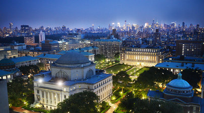 Columbia University from the rooftops, by night